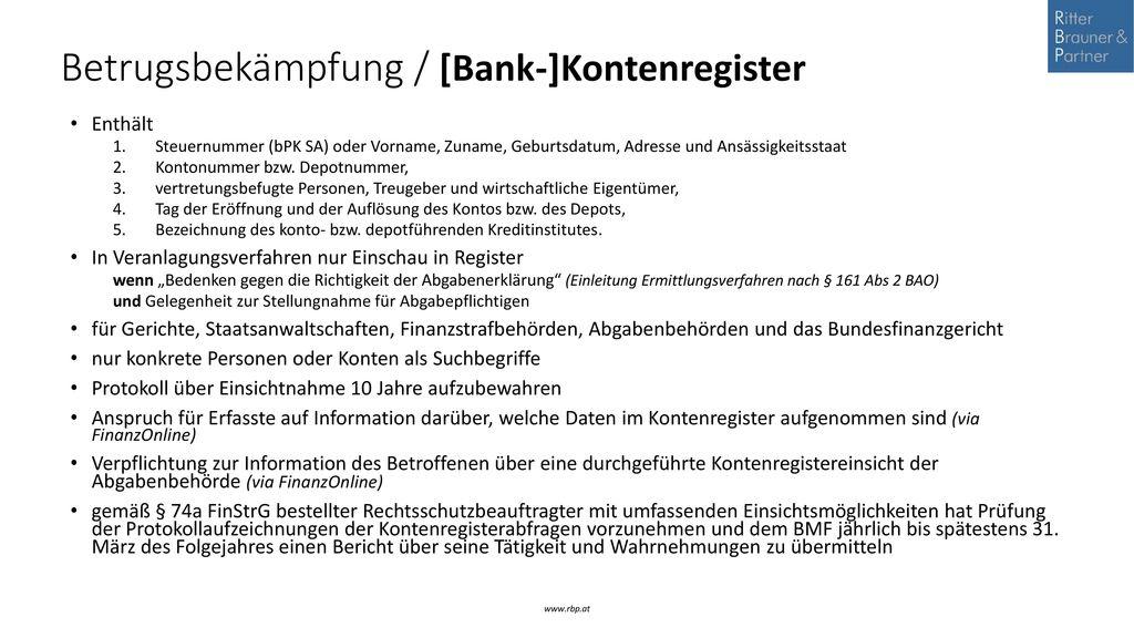 Betrugsbekämpfung / [Bank-]Kontenregister